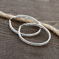 """3"""" Brilliant Round Pave Hoop Earrings 18K White Gold Plated with Crystals ITALY"""
