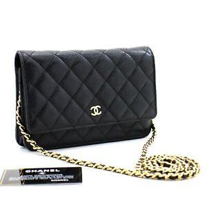 c76 CHANEL Authentic Caviar Wallet On Chain WOC Black Shoulder Bag Crossbody