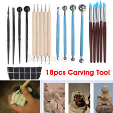 18pcs Clay Sculpting Carving Pottery Tools Wax Polymer Shaper Modeling DIY Craft