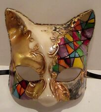 CAT 1 HANDMADE IN ITALY ANIMAL, CARNIVAL PAPIER MACHE, PARTY MASK, MULTICOLOURED