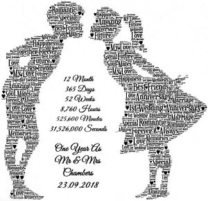 1st Wedding Anniversary Gift Personalised One Year As Mr & Mrs Print Present A4