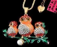 Betsey Johnson Pearl Mom Baby Owls Red Gold Pendant Chain Necklace Free Gift Bag