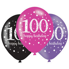6 x 100th Birthday Balloons Black Pink Lilac Party Decorations Age 100 Balloons