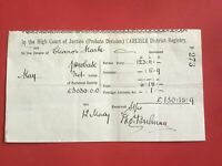 High Court of Justice Carlisle District Registry 1915 Probate  receipt R33214