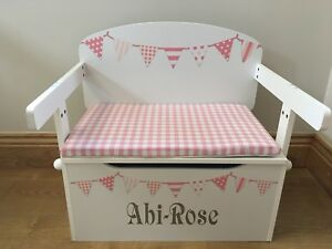 Toy Box Cushion ONLY Pink Gingham Handmade, (toy Box Sold Separately)