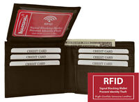 RFID Blocking Security Men's Bifold Card Id Credit Leather FLAP TOP Wallet Brown