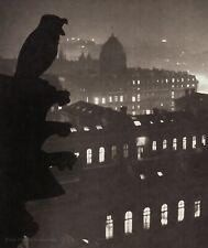 1933 Vintage BRASSAI Paris Night View From Notre-Dame Gargoyle Duotone Photo Art