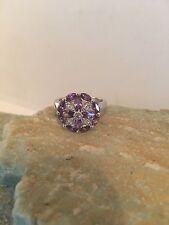 Gems Silver Ring Size 9-R843 Marquise Cut Amethyst & White Topaz