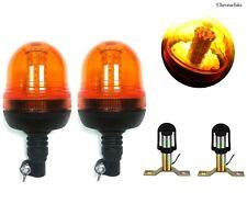 More details for 2 rotating flashing amber beacon warning strobe led emergency truck lights lamp
