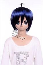 W-81 BAKUMAN Mashiro COSPLAY ANIME Parrucca Wig Nero Blu Black Blue MIX