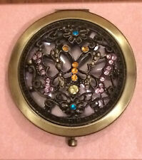 Compact Mirror Butterflies Metal Pink Blue Yellow Glass Stones Gift Boxed