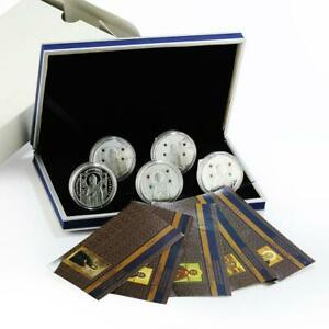 Belarus 10 rubles Saints of Orthodox set of 5 silver proof coins zircons 2008