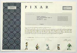 2004 PIXAR Animated Studios Stock Certificate Steve Jobs