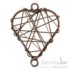 Antique Copper Wire Heart Metal Charm Pendants 38mm Pack of One (E73/12)