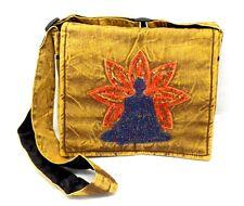 Purse yoga pose meditation embroidered sequin shoulder bag brown hippie boho NWT