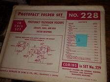 Photofact Folder Set No. 228 Crosley, Fada, and RCA Victor Recievers