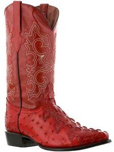 Mens Red Cowboy Boots Leather Crocodile Ostrich Pattern Western J Toe Bota