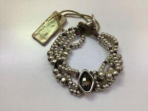 "NWT Uno de 50 Silver-plated Multiple Beaded Bracelet w/ Gray Crystal ""Harmonic"""