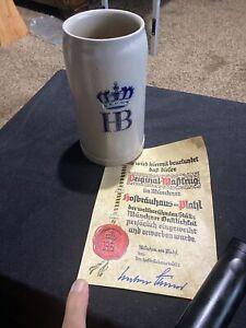 HB Beer Stein mug Hofbrauhaus Munchen 1 liter Stonewear  made in Germany vintage