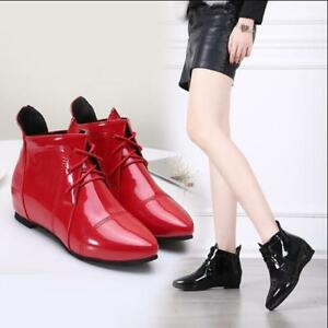 Womens V Wedge Heels Patent Leather Lace Up Pointed Toe Ankle Boots Casual Shoes