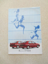 1993 Renault 19 RSI automobile advertising brochure