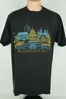 Vintage 80s Washington DC Faded Black XL Single Stitch Graphic T Shirt USA Made