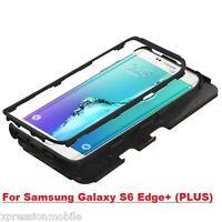Samsung GALAXY S6 EDGE Plus Hybrid ShockProof Rubber Hard Case Cover BLACK +Hook
