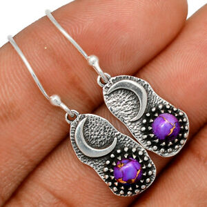 Crescent Moon - Copper Purple Turquoise 925 Silver Earring Jewelry BE62570