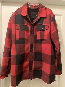 Volcom man black and red and lumberjack plaid Pat moore Sherpa jacket Size M