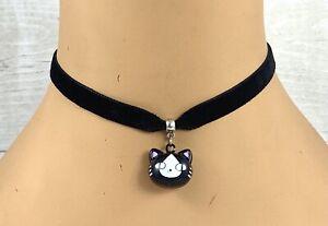 Black Velvet Choker Necklace Cat Bell Cosplay Anime Lolita Fashion Collar Goth