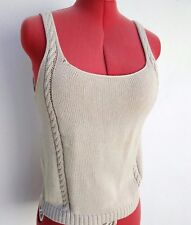MALO Womens Cotton Cable Knit Sleeveless Sweater Vest Tank Top Beige IT42/US8
