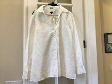 TALBOTS WOMENS SHIRT BLOUSE 100% LINEN WHITE SIZE XL NEW