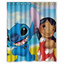 Lilo and Stitch Ohana Custom Waterproof Shower Bath Curtain 60'' x 72''