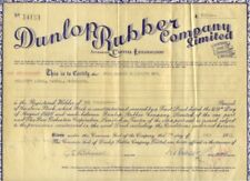 Dunlop Rubber Stock Certificate - Outstanding Collector's Item!