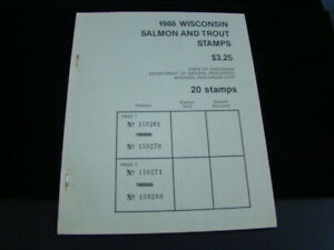 Wisconsin 1988 Salmon And Trout Stamps Unused Booklet Of 20 MNH 2 Panes Of 10