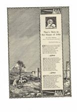 VINTAGE 1911 MARY'S STORY IN THE HOUSE OF JOHN THE BIRTH OF CHRIST AD PRINT
