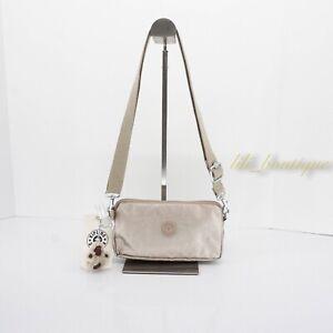 NWT Kipling AC8637 Emilia Crossbody Mini Bag Polyamide Gleaming Gold Metallic 49
