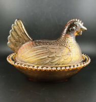 Vintage Indiana Glass Amber Hen On Nest Covered Candy Dish Beaded Flat Tail