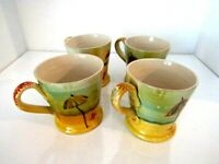Pottery Large Ceramic Mug Made In Italy Painted Beach Scene Set of 4
