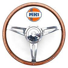 """Vw Beetle 1971 > 1973 15"""" Polished Riveted Wood Rim Steering Wheel Kit"""