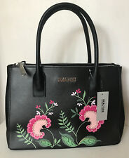 NEW! KENNETH COLE REACTION BLACK GARDEN PARTY TRIPLE ENTRY SATCHEL TOTE BAG $99