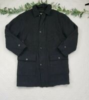 L.L. Bean Mens Gray Full Zip Wool Car Coat Size M Tall Quilted Lining
