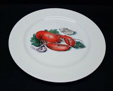 Vintage Delano Studios 1950s Hand Painted Lobster Clam Shrimp Plate Platter Tray