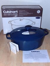 Cuisinart 5.5 Qt Enameled Cast Iron Oval Casserole Dutch Oven with lid, blue NEW
