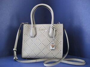 NWT Michael Kors Studio Mercer Stud & Grommet Medium Messenger Bag Pearl Grey