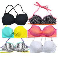 Victoria's Secret Swim Top Getaway Halter Bathing Suit Bikini Ruched Beach Vs