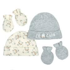 Gerber Baby 4 Piece Organic Cap and Mitten Set, 0-6M, 1 Grey Set & 1 Ivory Set