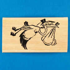 Stork Carrying Baby Rubber Stamp by Anita's - New Child Birth Congratulations