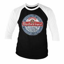 Licence Officielle Budweiser Américain Lager Baseball 3/4 Manche T-SHIRT S-XXL