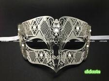 Silver Metal Male Diamond Design Laser Cut Venetian Masquerade Filigree Mask Men